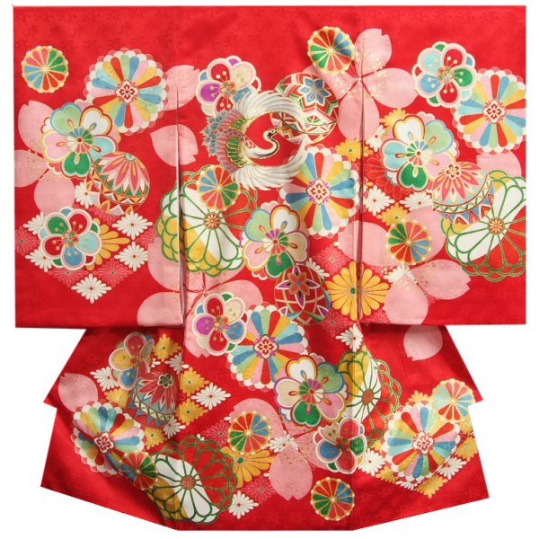 お宮参り着物 正絹女児初着 女の子用産着 鶴 赤色地モダン配色 金糸刺繍使い サヤ地紋 日本製