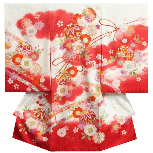 お宮参り 着物 正絹 女児初着 白地裾赤色染分け 赤色雲取り 刺繍使い山桜 紐流し サヤ地紋 日本製