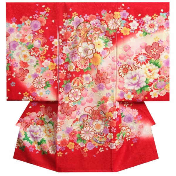 お宮参り 着物 女の子 正絹女児初着 女の子用産着 赤 鼓 まり 刺繍使い 桜地紋生地