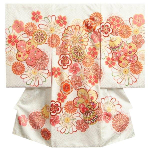 お宮参り 着物 正絹 女の子 女児初着 産着 白色 捻り菊 梅 桜 金糸刺繍使い サヤ地紋生地 日本製