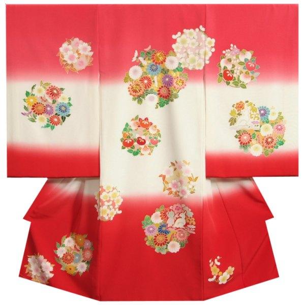 お宮参り 着物 女の子 正絹初着 赤ちゃん 丹後ちりめん 三越織り 濃淡ピンク白赤染め分け 手染め 手描き 日本製
