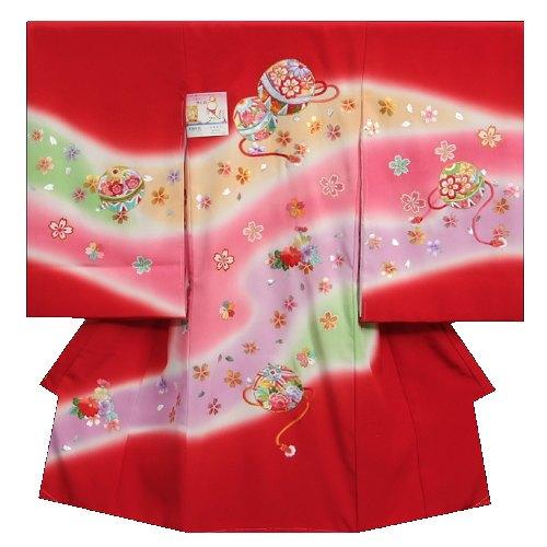 お宮参り着物 正絹女児初着 赤 四色ぼかし染め分け 柄総刺繍箔仕様 まり 桜 変わり無地精華生地 日本製