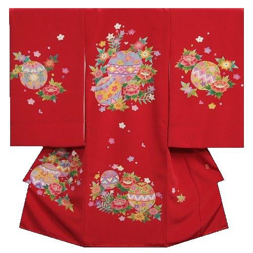 お宮参り着物 正絹女児初着 本加賀友禅 浜ちりめん生地 赤 手染め 手描き 裏地や長襦袢もすべて正絹仕立て 日本製