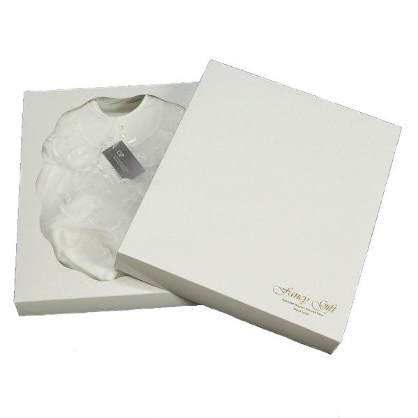 お宮参り用ベビードレス 白 レース付きフード ロンパースオーガンジー3点セット 日本製
