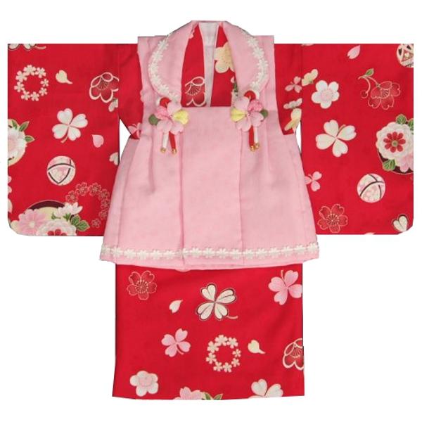 ベビー着物 赤ちゃん用女の子着物 赤色着物 ピンク被布 二部式仕様の楽々着せ付けタイプ