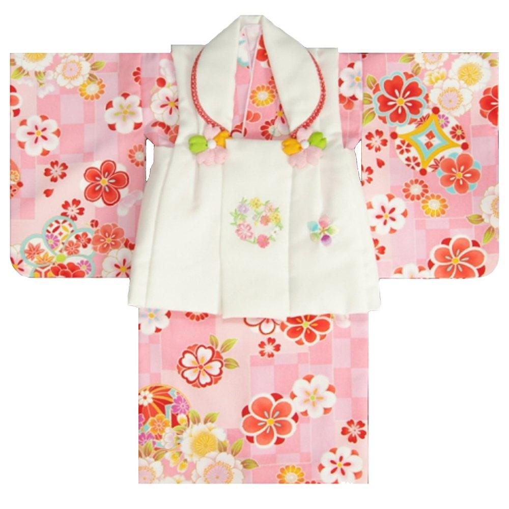 ベビー着物 赤ちゃん用女の子着物 ピンク地着物 濃淡ピンク変わり市松文様 白色被布 二部式仕様の楽々着せ付けタイプ