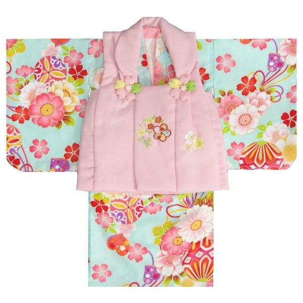 ベビー着物 赤ちゃん用女の子着物 水色着物 ラベンダーピンク地被布 二部式仕様の楽々着せ付けタイプ