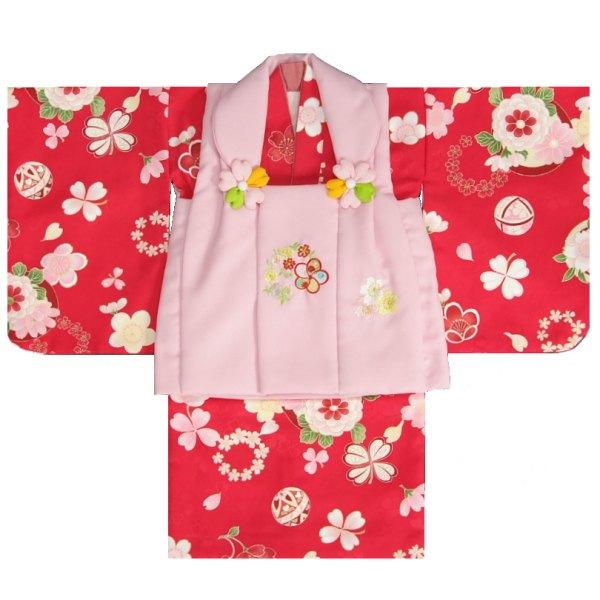 ベビー着物 赤ちゃん用女の子着物 赤色着物 ラベンダーピンク被布 二部式仕様の楽々着せ付けタイプ