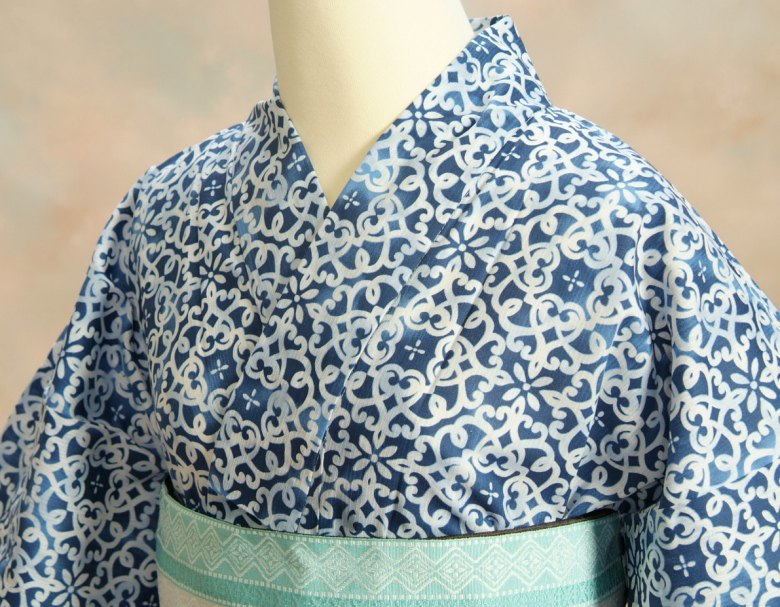 浴衣 ゆかた 凪ブランド 濃淡藍色ぼかし 和更紗柄 ゆかたにピッタリな滝流れ生地使用 綿100%0Pkw8OXn