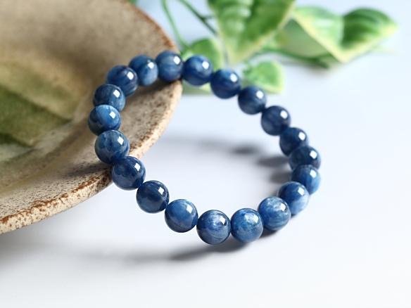 京珠堂 表現力 判断力 極上 SA 天然石 パワーストーン 鑑別済み 天然 藍晶 カイヤナイト 10mm ブレスレット B487