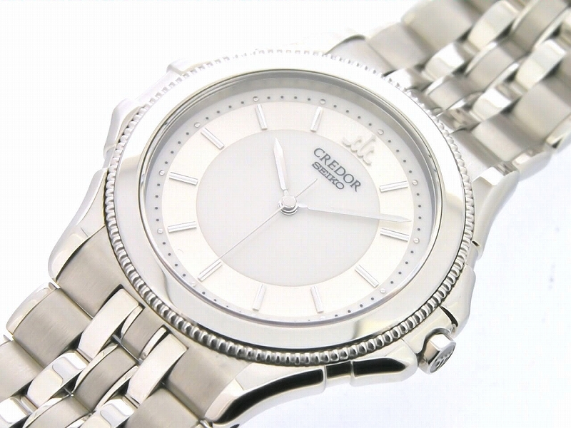 SEIKO credor Pacifique 8J81-6B70 silver / white dial quartz SS/SS watch