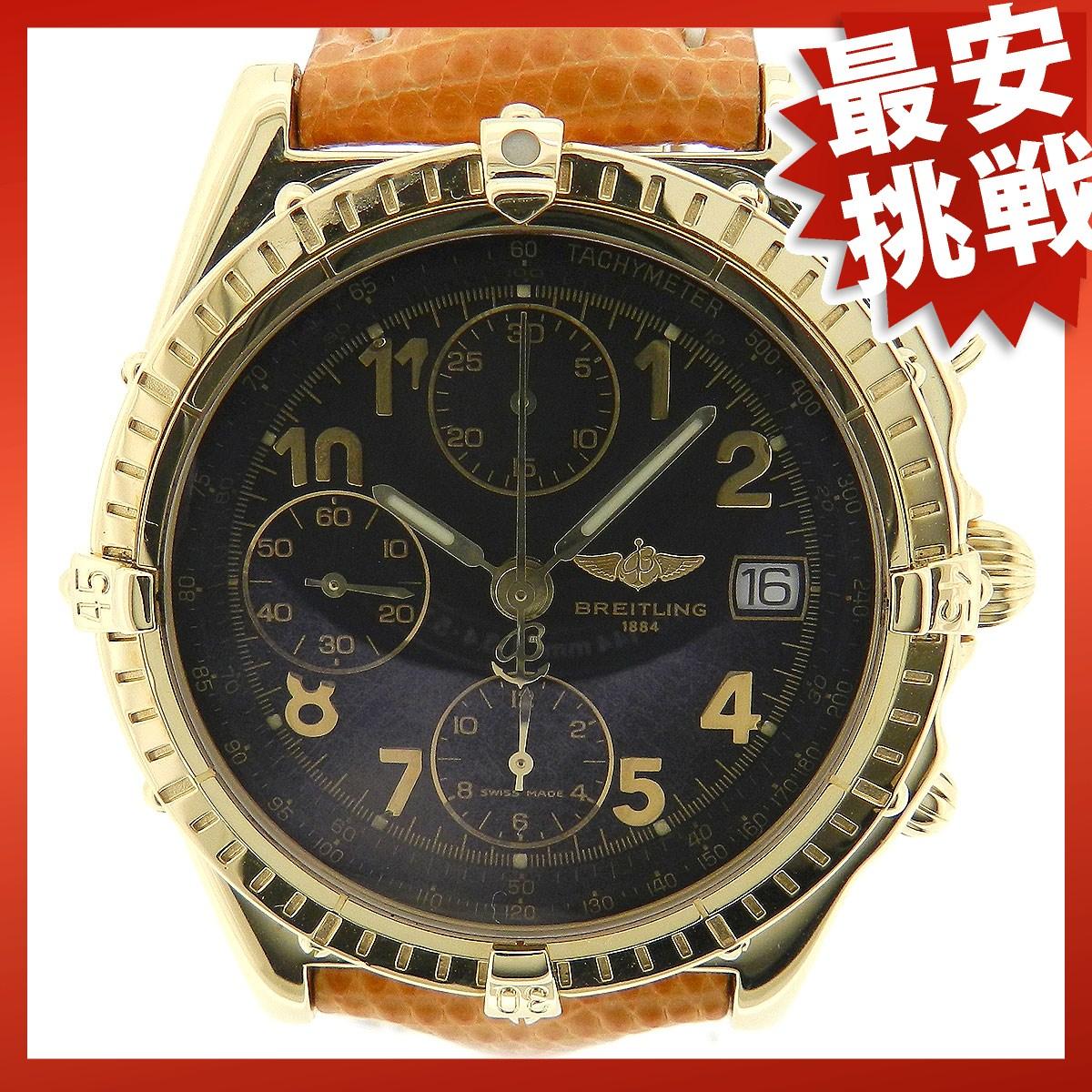 BREITLING chronomat K13050.1 watch K18YG / leather men's