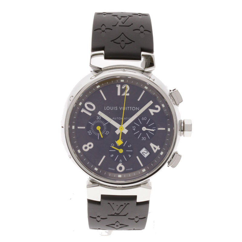 LOUIS VUITTON Tambour Chronograph Watch SS / rubber men