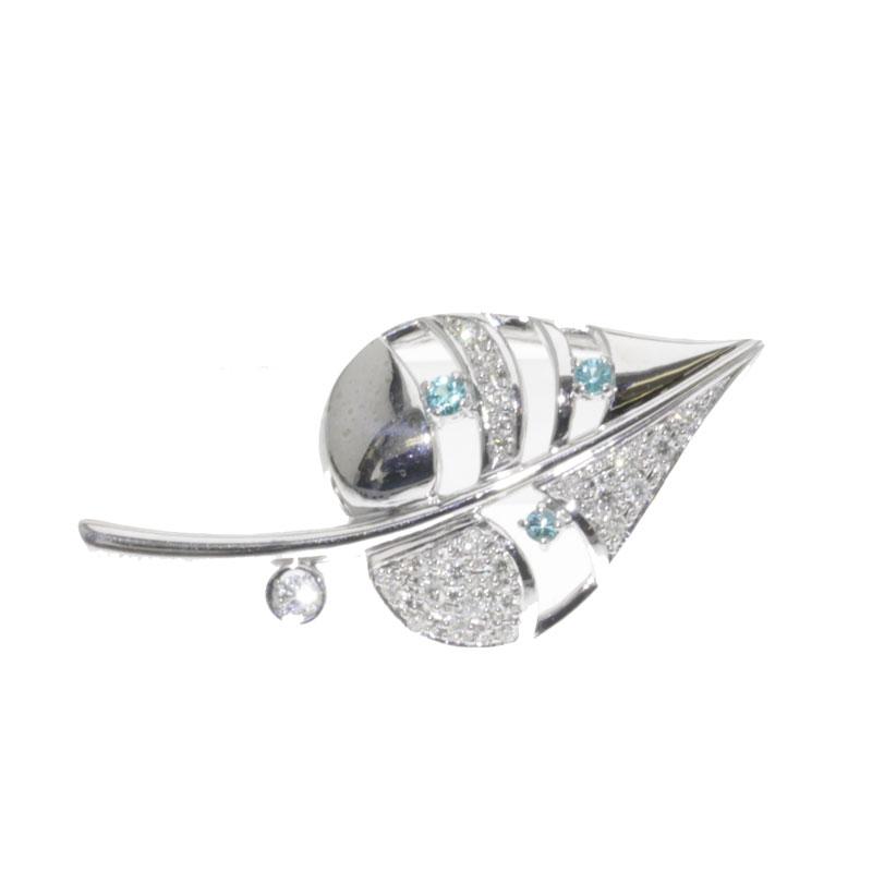 Tourmaline and diamond brooch K18 white gold ladies