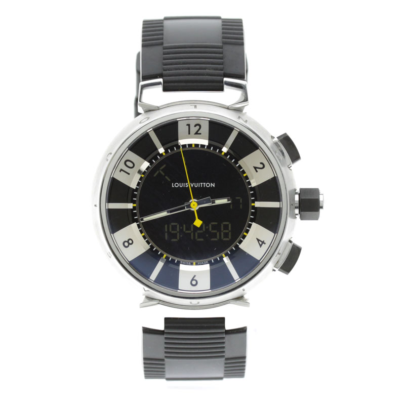 LOUIS VUITTON tambour in black Q118F watch SS/ rubber men