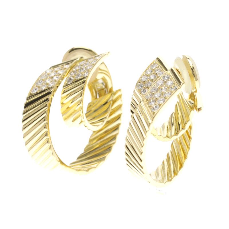 Van Cleef & Arpels diamond earrings K18 yellow gold Lady's