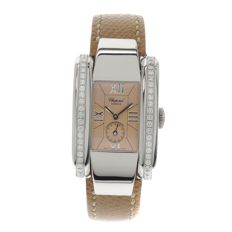 Chopard La Strada diamond side watch SS / leather ladies