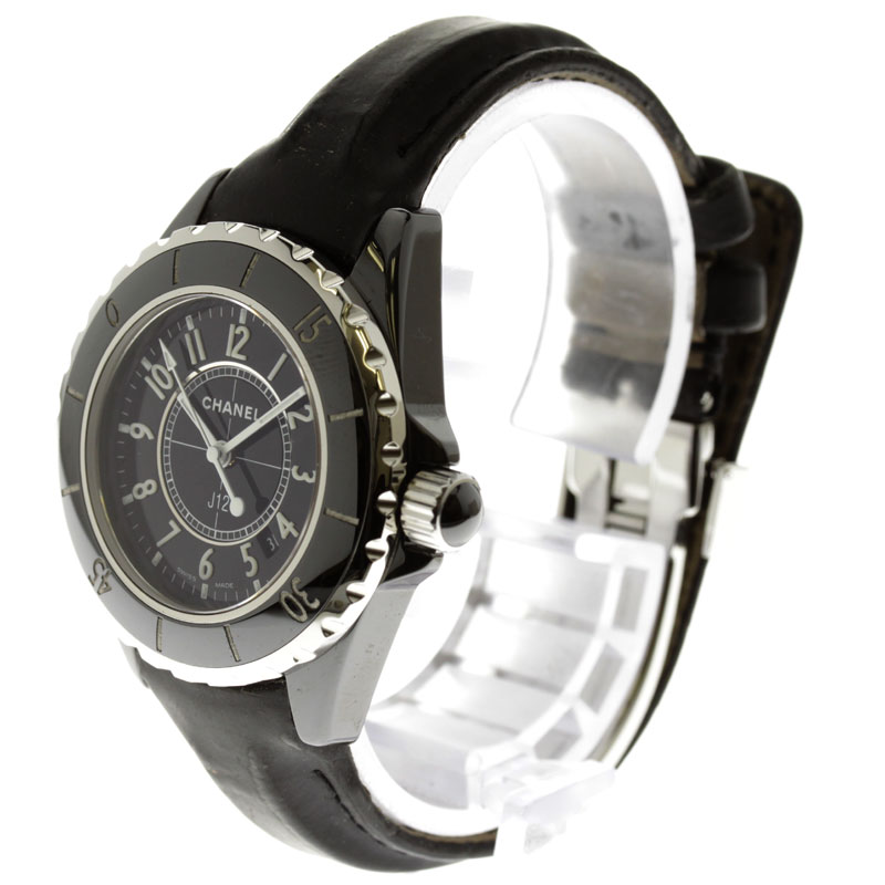 CHANELJ12 OH and outstanding watch SS / Leather Womens