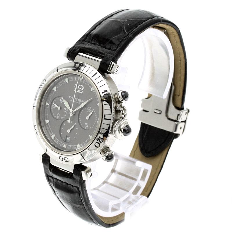 CARTIER Pasha NO.950 watch Pt / leather mens fs3gm