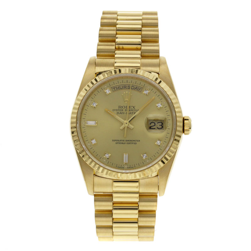 ROLEX18238A Oyster Perpetual Day-date 10 P diamond already OH K18YG mens watches