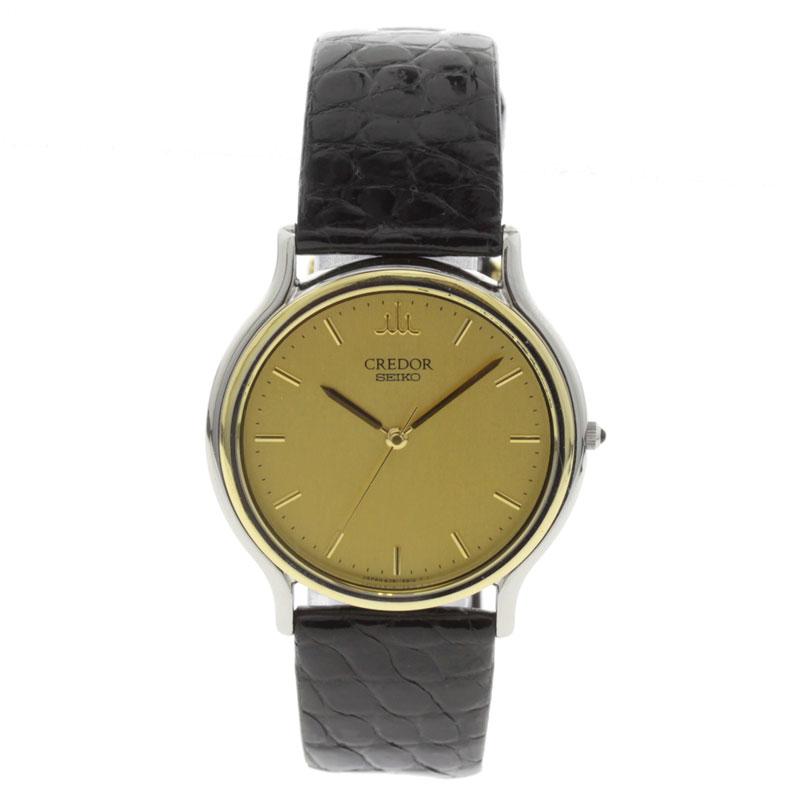 SEIKO credor 8J81-6B00 watch K18/SS / leather mens fs3gm