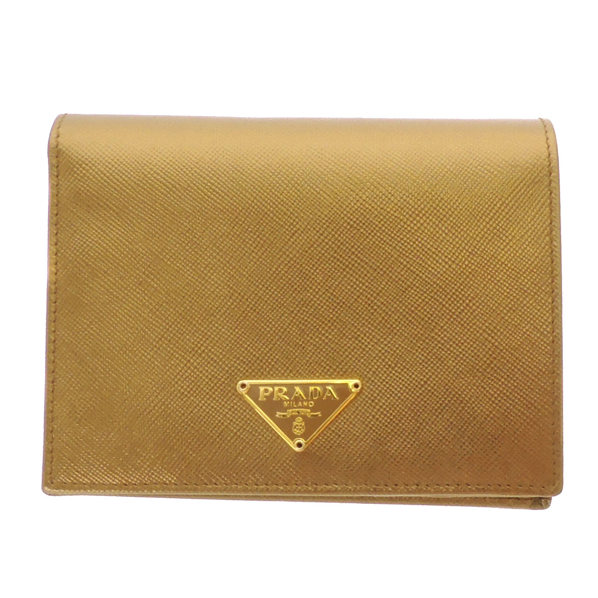 PRADA logo plate with two bi-fold wallet ( purses and ) Leather Womens