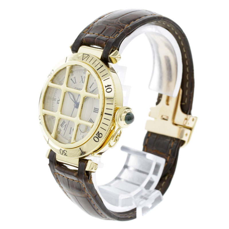 CARTIER pasha 38mm OH 済腕時計 K18YG/ leather men fs3gm