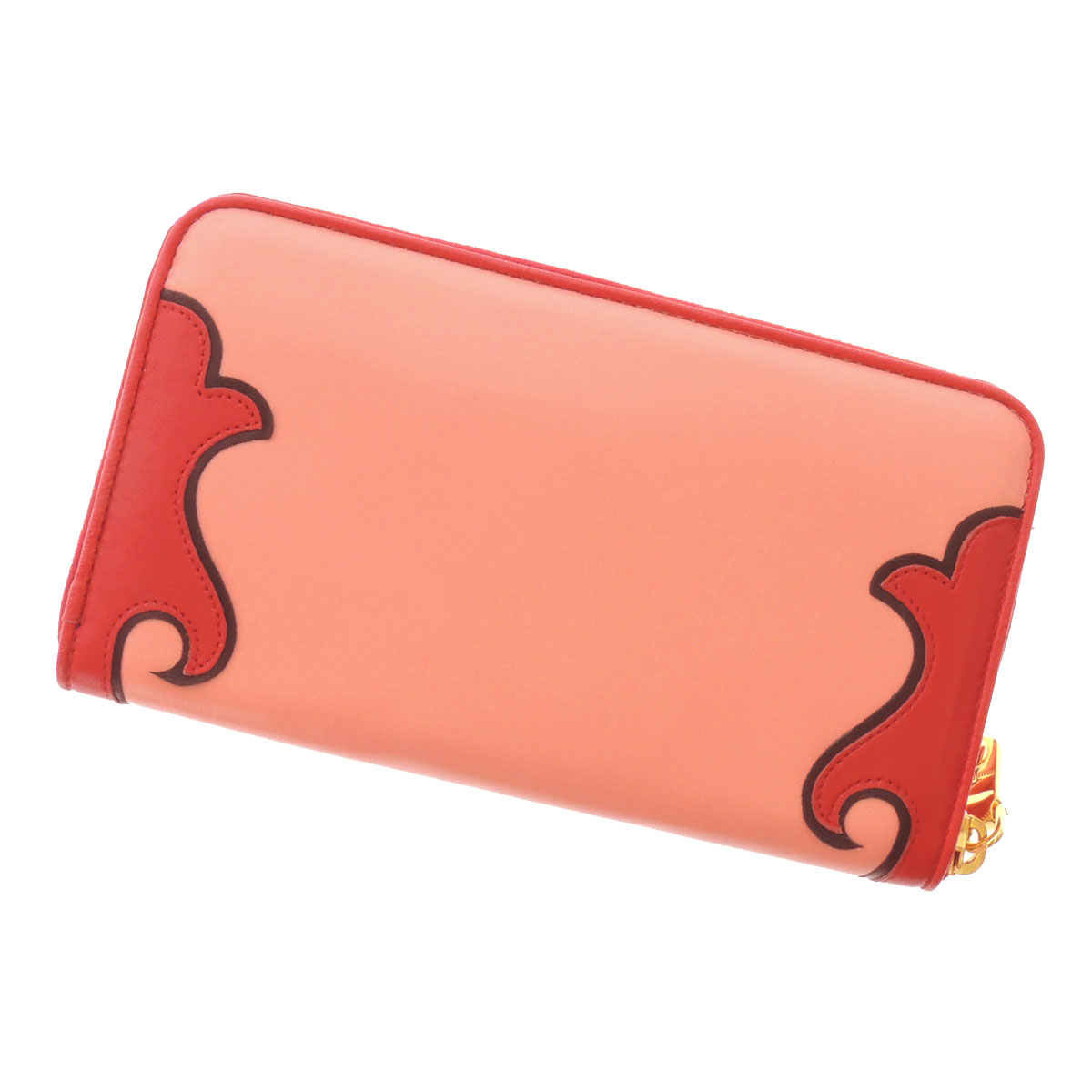 MIUMIU rose motif long wallet (there is a coin purse) leather Lady's