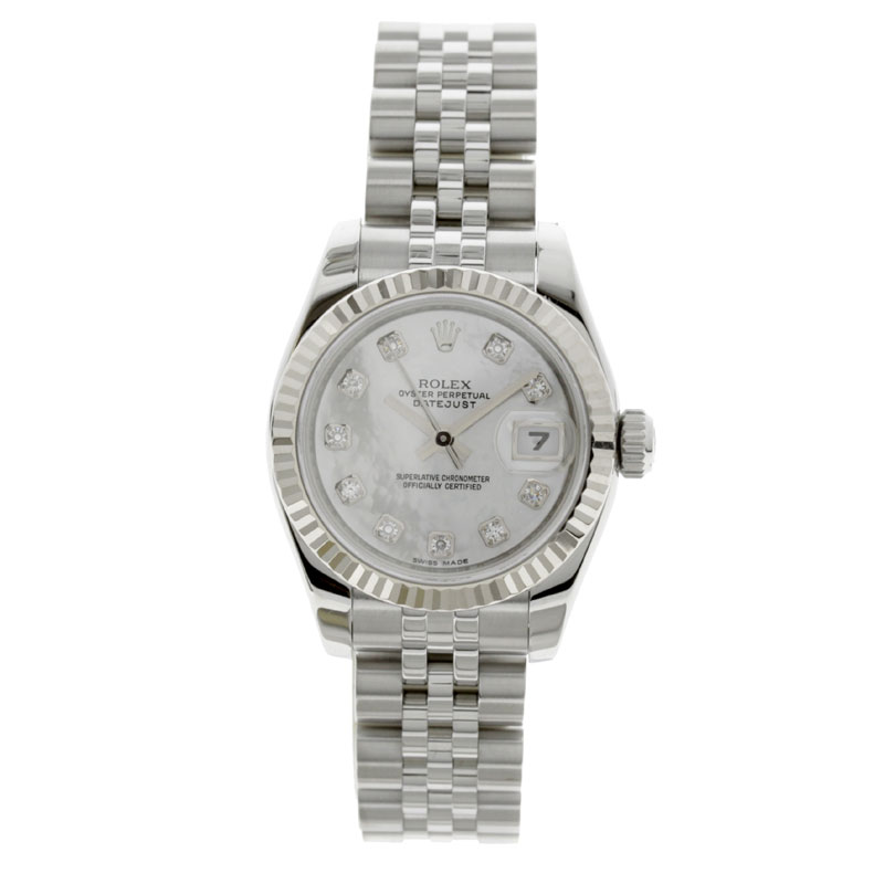 ROLEX Oyster Perpetual Datejust 179174 NG 10 p diamond watch K18WG/SS ladies