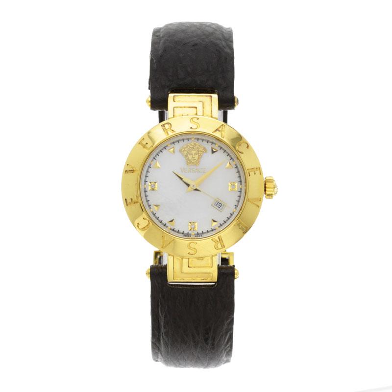 Gianni Versace round case watch GP / leather men's