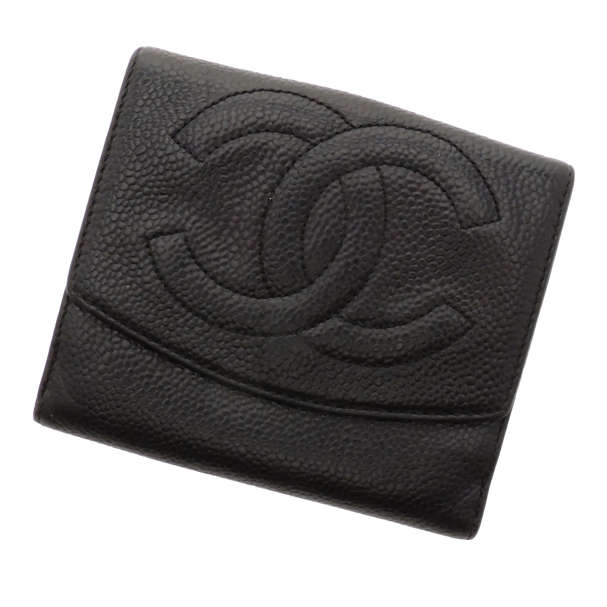 CHANELW hoc two-fold wallets (purses and) caviar skin ladies