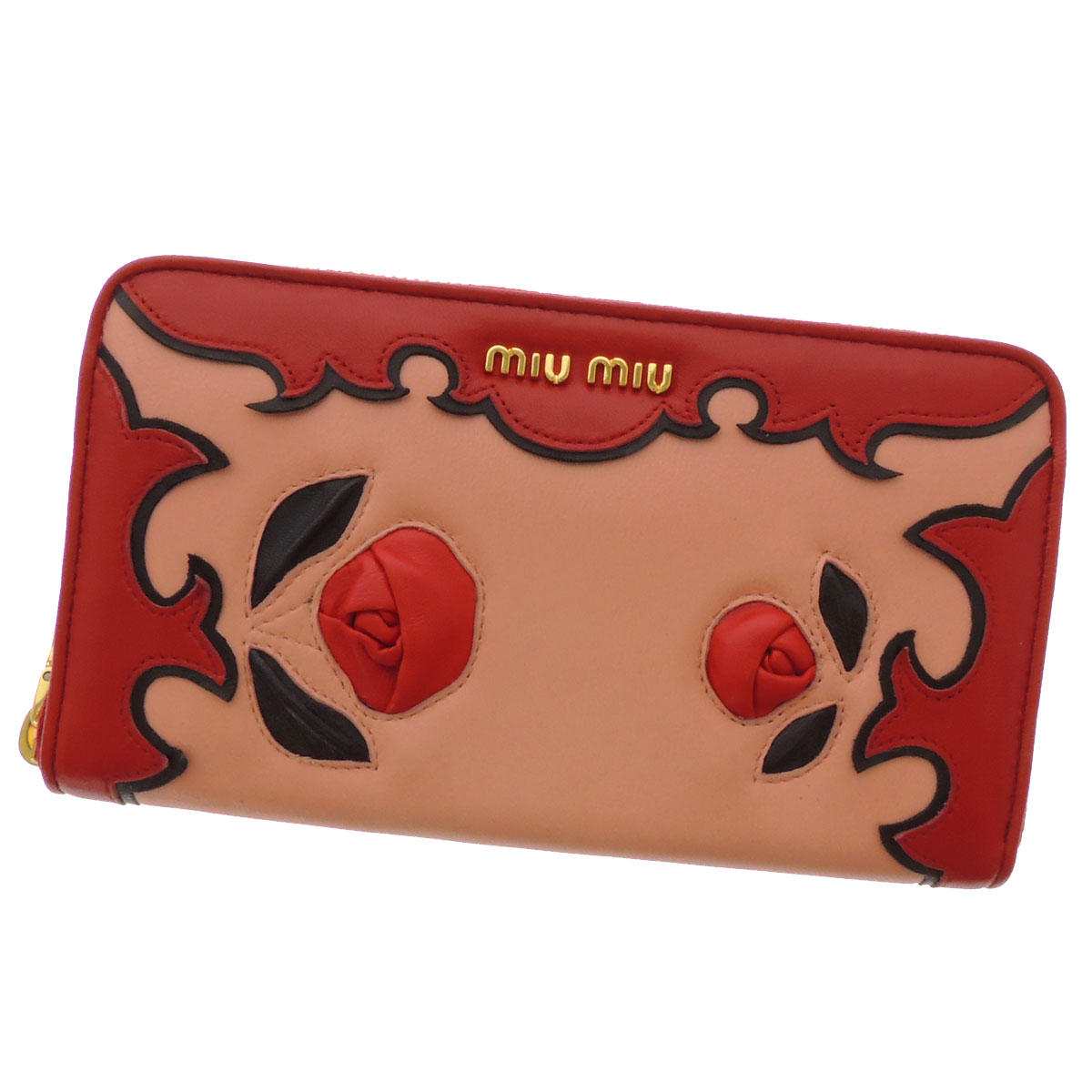 MIUMIU rose motif zip around wallet ( purses and ) Leather Womens fs3gm