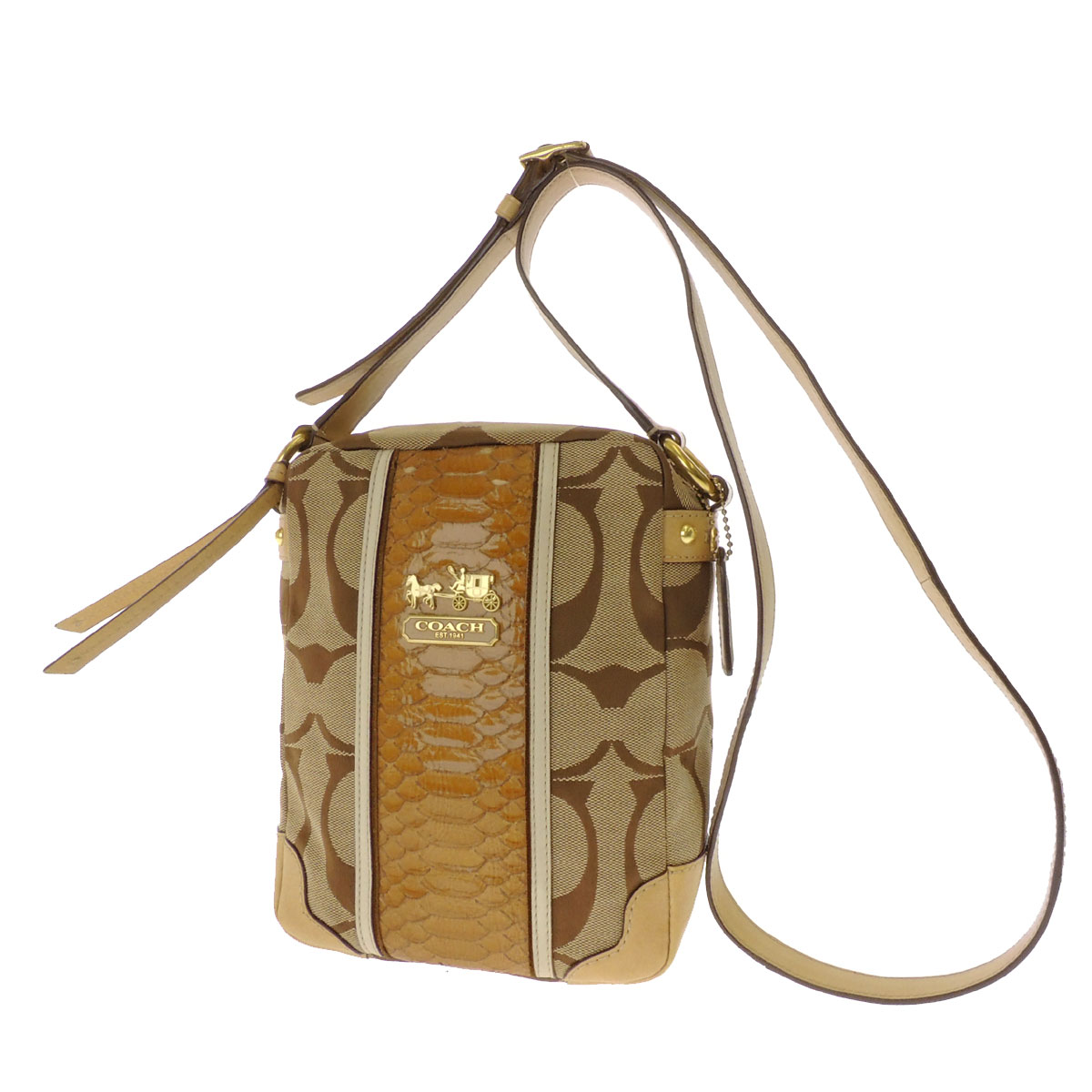 Shoulder bag canvas X leather Lady's with the COACH signature pattern logo