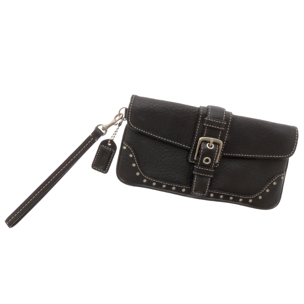COACH belt motif perforated accessory pouch Leather Womens