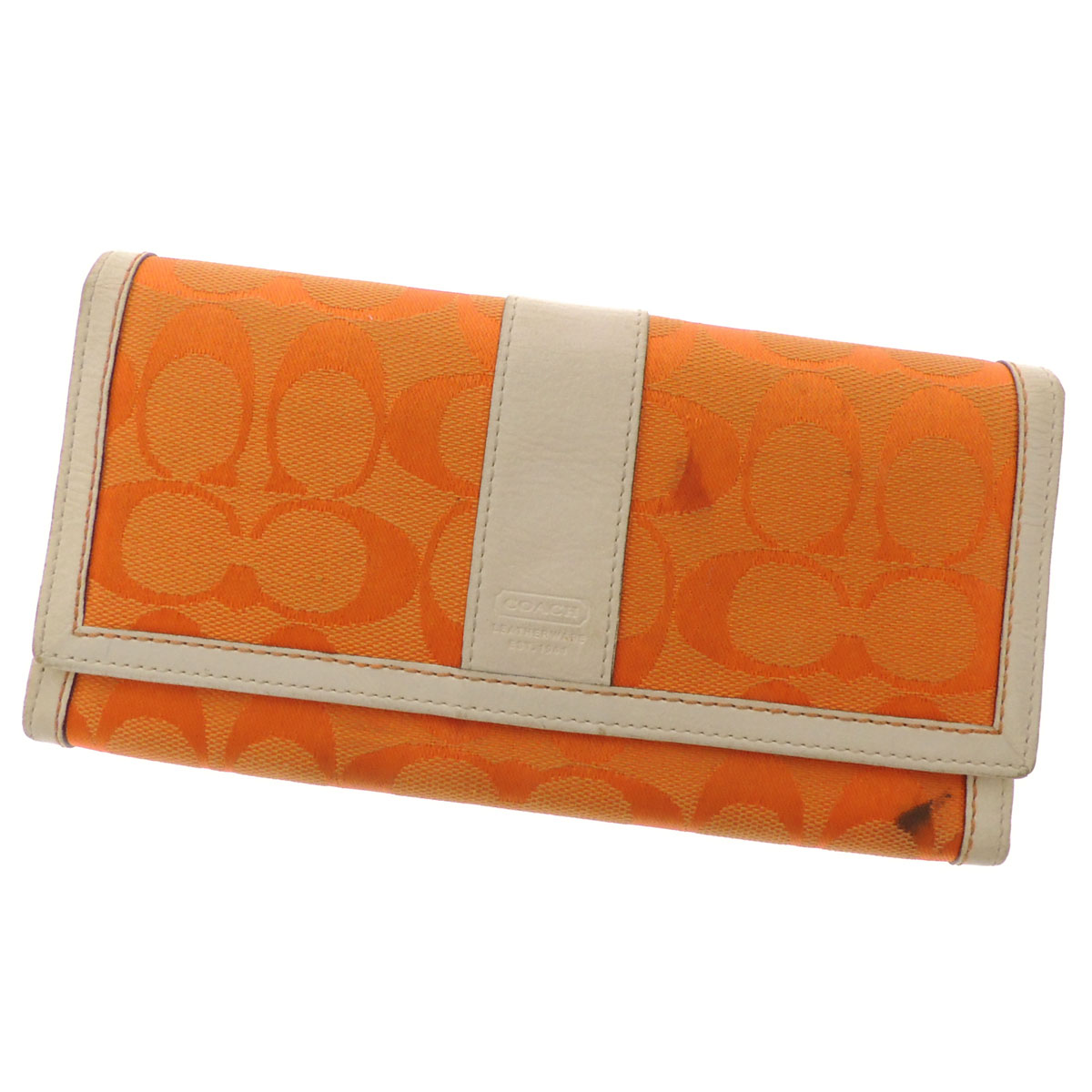COACH signature pattern logo long wallet (there is a coin purse) canvas X leather Lady's fs3gm