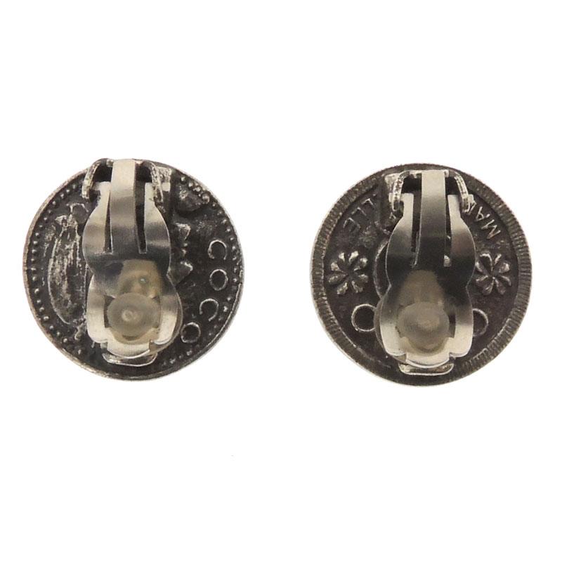 CHANEL here mark earrings stainless steel Lady's