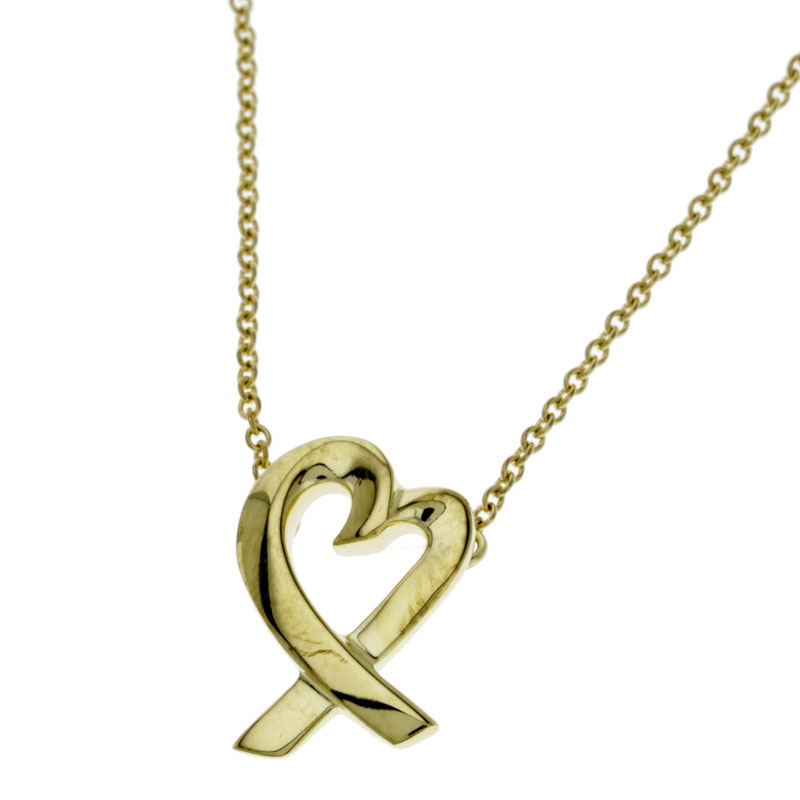 TIFFANY &Co. Paloma Picasso loving heart necklace-pendants K18 gold ladies