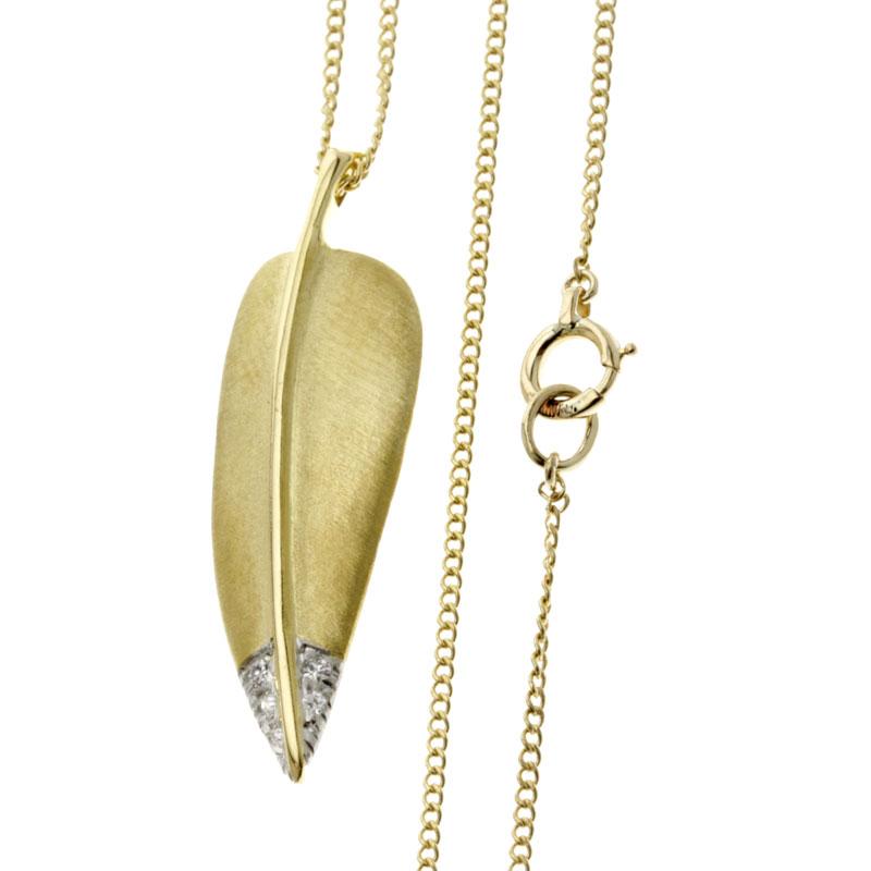 TIFFANY&Co. Leaf diamond necklace pendant K18 gold Lady's