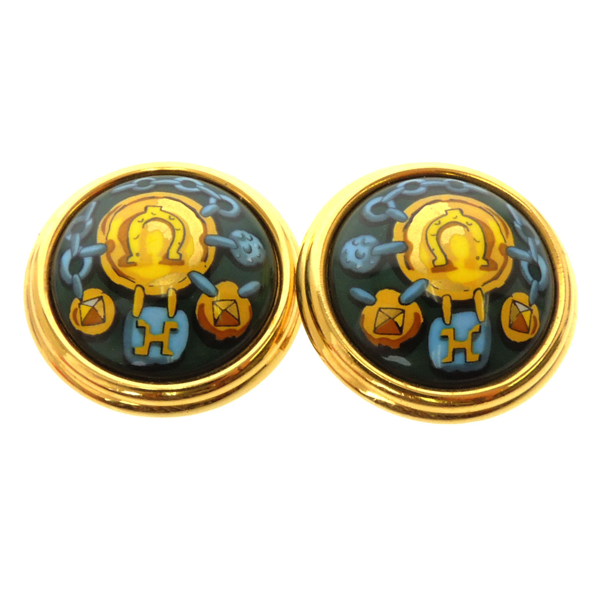 HERMES Horseshoe motif earrings women's