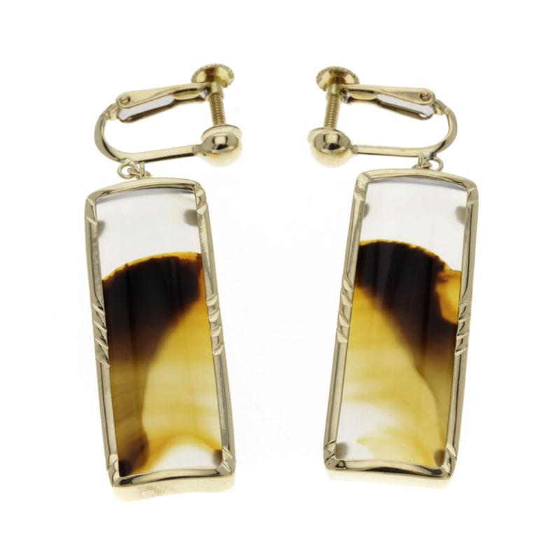 Chalcedony earrings K18 yellow gold ladies