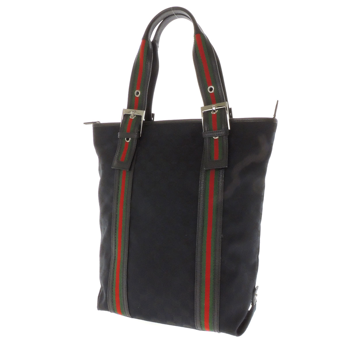 GUCCI vertical GG pattern tote bag GG canvas x leather unisex