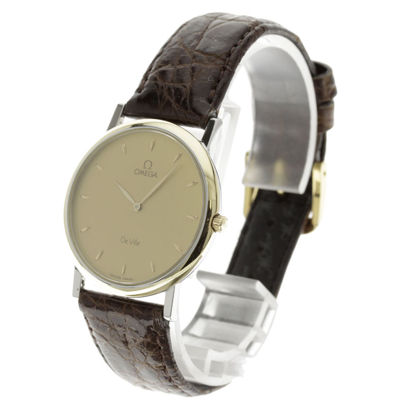 OMEGA watch stainless steel de Bill / Brown leather mens