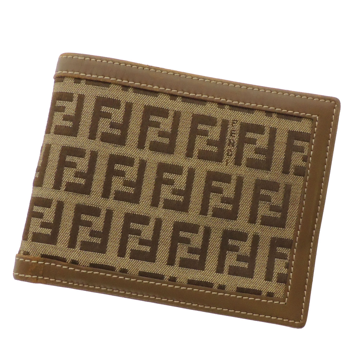 FENDI zucchino 2 fold wallet ( purses and ) canvas x leather unisex fs3gm