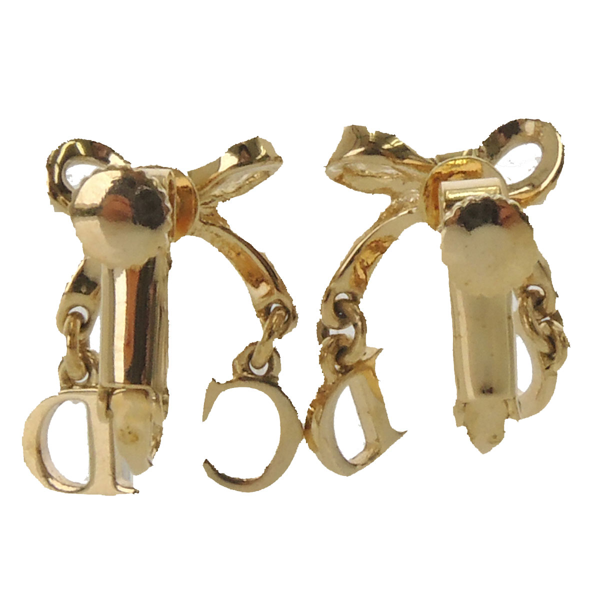 CHRISTIAN DIOR Ribbon motif earrings metal ladies