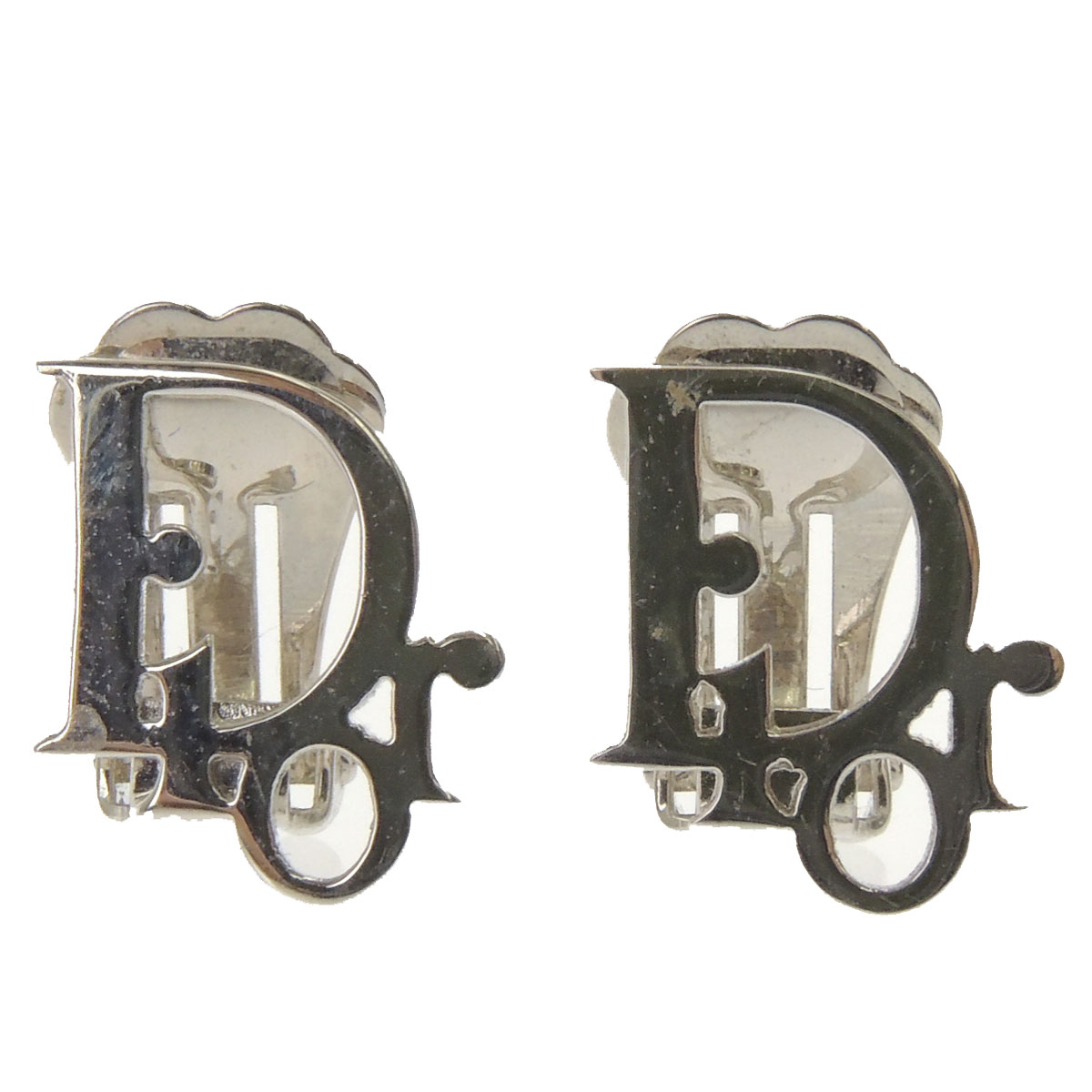 Lady's made by CHRISTIAN DIOR logo motif earrings metal