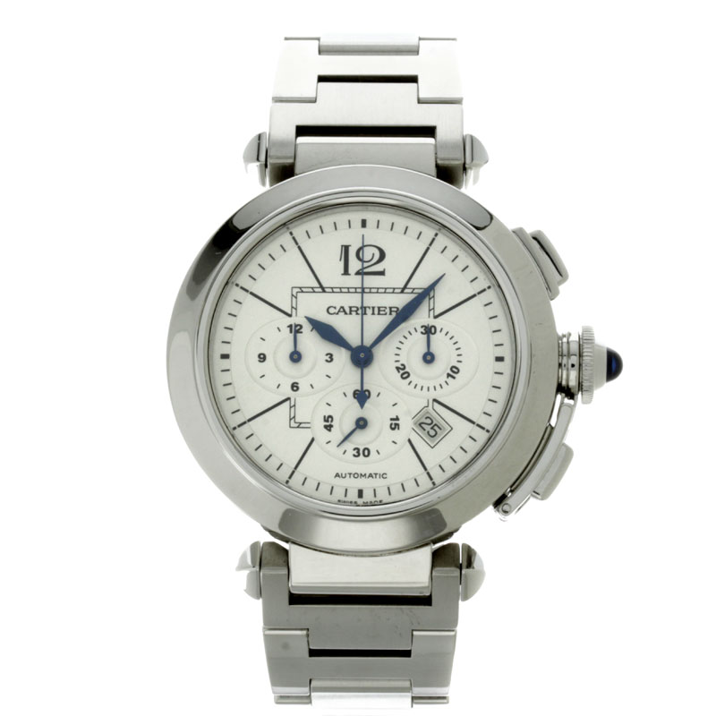 CARTIER Pasha 42 mm Chrono W31085M7 watch stainless steel mens