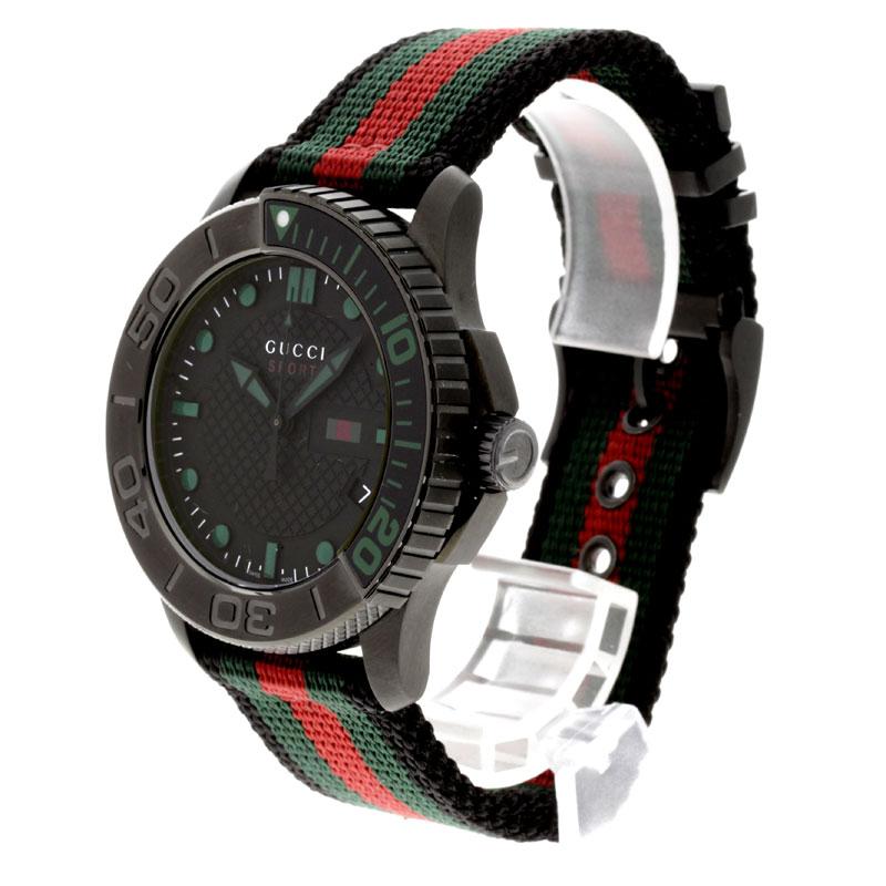 织带线的男装古奇 126.2 手表不锈钢和画布