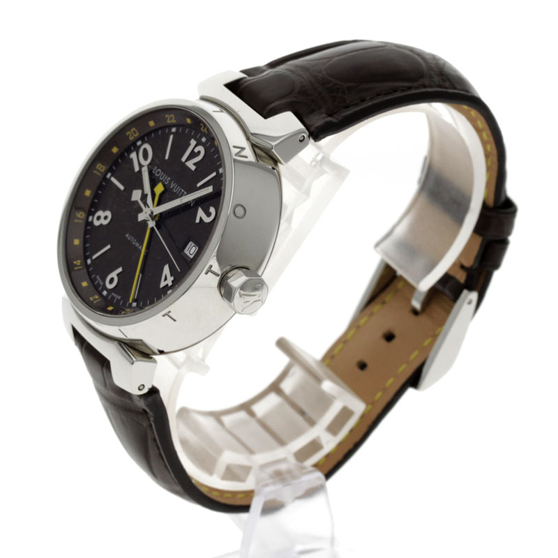 LOUIS VUITTON Tambour Q1131GMT OH and outstanding watch stainless steel and brown leather mens