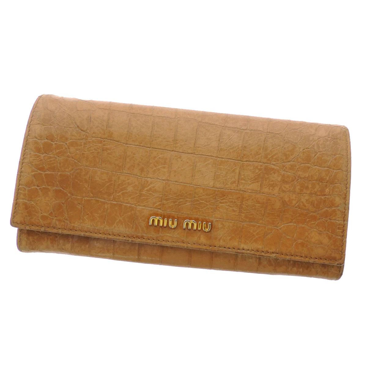 MIUMIU Croc-down wallets (purses and) enamel x Leather Womens upup7