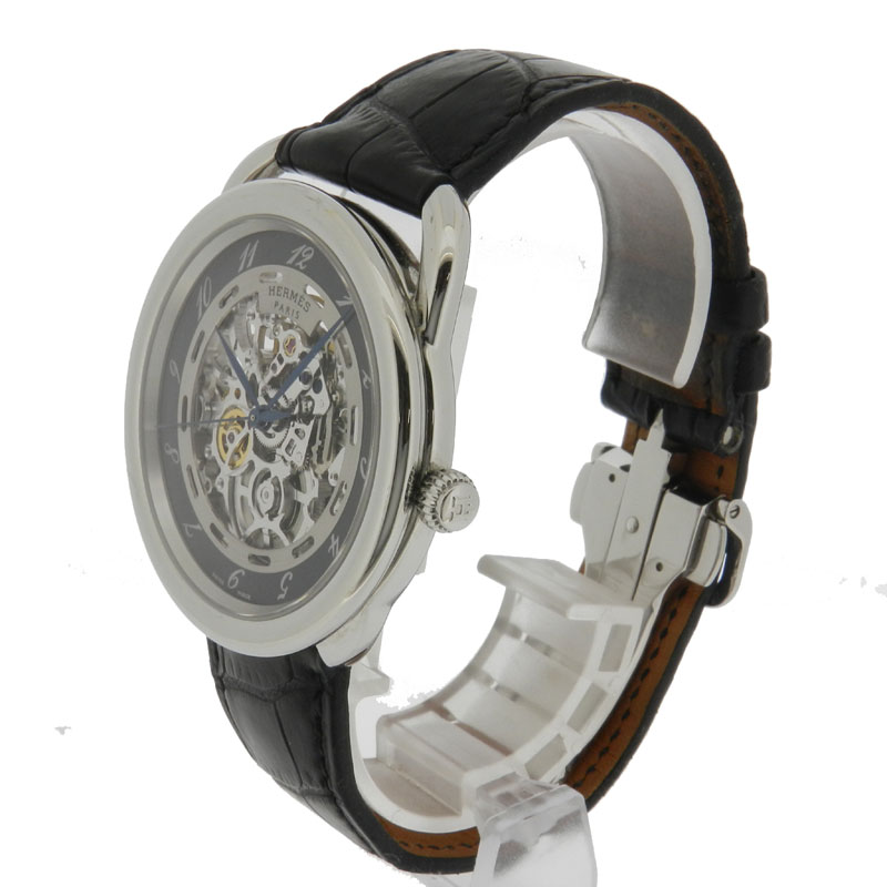 HERMES arceau skeleton watch stainless steel / leather mens fs3gm